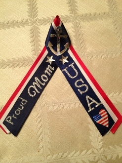 Navy PIR Tripla Colored Ribbons with Proud Mom/Dad etc