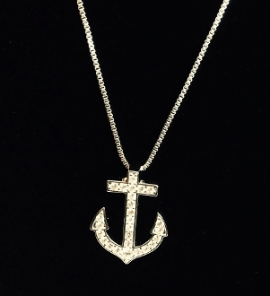 CZ Anchor Pendant Necklace