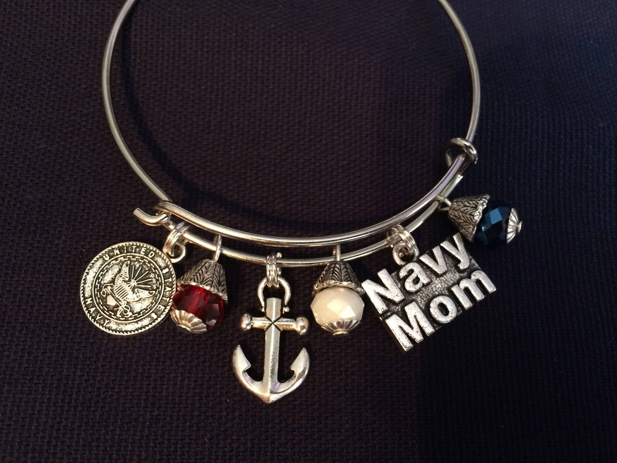 US Navy Themed Pop Top Bracelet with Charm